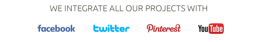 We integrate our websites with facebook, twitter, pinterest and youtube